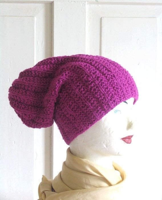 Purple Beanie Large Beanie Oversized Beanie Hat by recyclingroom, $35.00