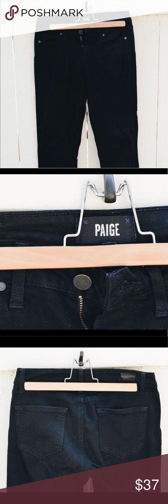 "PRICE ⬇️ (1 HOUR) PAIGE Verdugo Ultra Skinny Jeans PAIGE DENIM jeans in Black Shadow wash. So soft, they feel like leggings! A ""win style"" AND comfort-wise. An amazing deal for a quality pair of jeans you won't want to take off. NOTE: front of pant legs appear distressed upon first glance but look normal when worn. PAIGE Jeans Skinny"