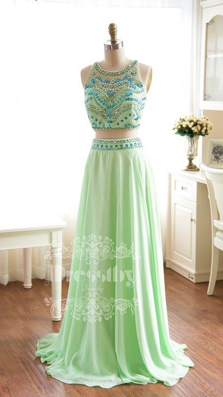 Unique green A-line chiffon beaded two pieces long prom dress, green evening dress, formal dress for teens