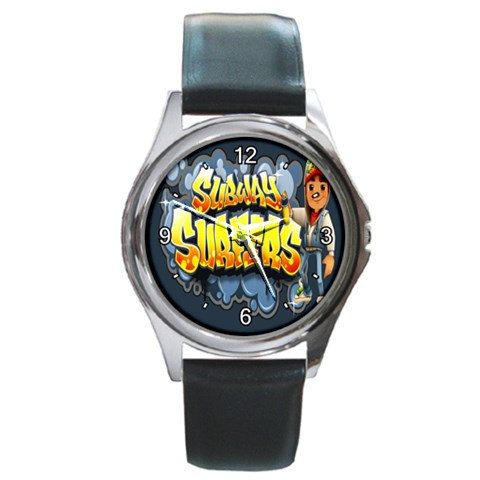 subway surfers game logo round metal watches by awrelieaccessories