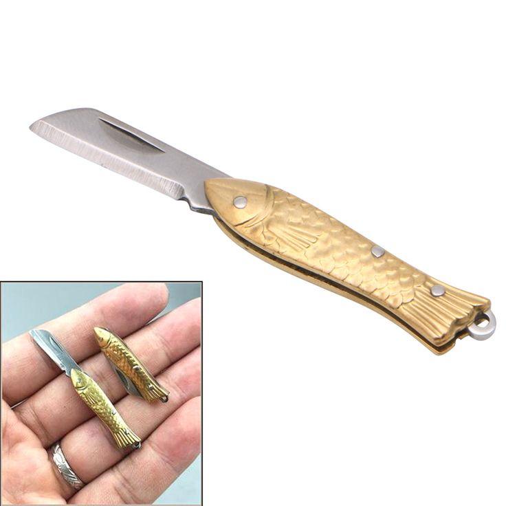 Эми Маленький Fishshape Брелок Для Pocket Брелок Тактический Складной Нож Папки Латунь Приятные Подарки купить на AliExpress
