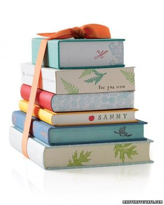 Personalize a gift with stamps on the book bindings. That's so beautiful and easy!Book Lovers, Kitchens Design, Mothers Day, Gift Ideas, Stamps Book, The Edging, Book Pages, Bridal Shower, Handmade Gift