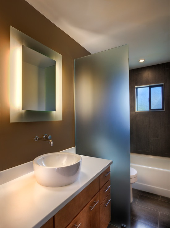 Frosted Glass Slab Used As A Divider This Is An Easy Update And Solves A Few Design Issues With Bathroom Mirrors Diy Modern Bathroom Lighting Bathroom Mirror