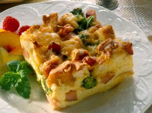 Ham And Cheese Omelet Bake...made this w/o broccoli for the boys and ...
