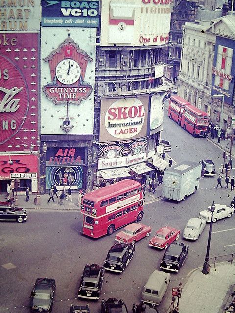 Piccadilly Circus, july 1967 by ShakeFrog, via Flickr