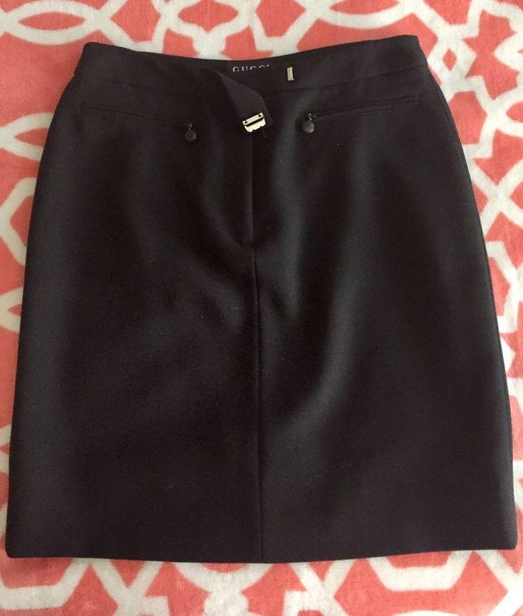 "Gucci Skirt Black 42 Medium Size 6-8 US 36-38"" hips #Gucci #StraightPencil"