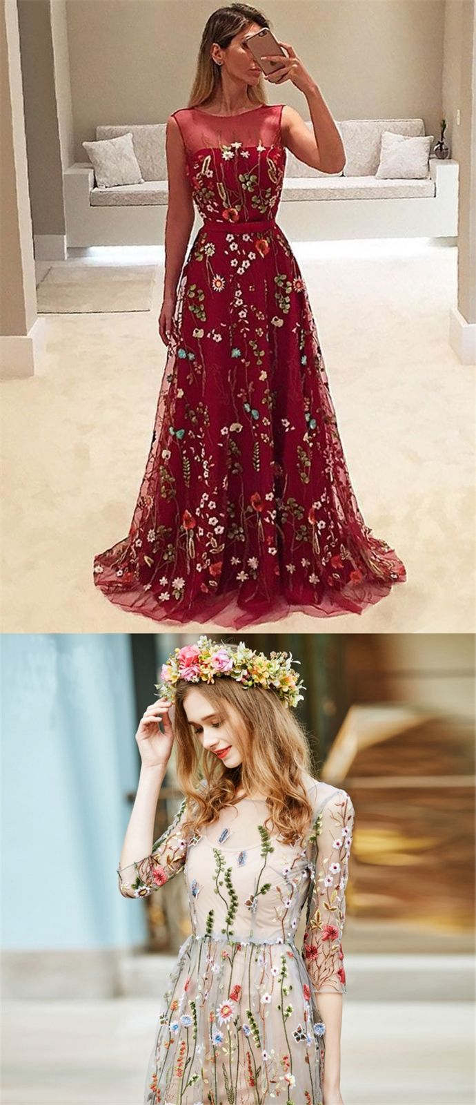 elegant bateau illusion prom dress with embroidery,  fashion a-line chifffon party dress with appliques