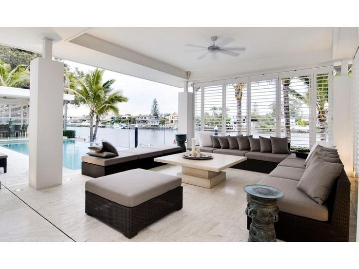 courtyard inspired, modern garden, swimming pool landscapes, waterfront garden landscape - homehound.com.au