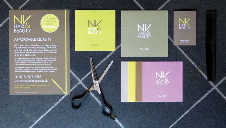 NV Hair & Beauty, Business Stationery, Flyer, Gift Vouchers, Appointment Card, Price List, Gift Card. Metallic Inks, Pantone. By Leaff Design, Worcester UK.