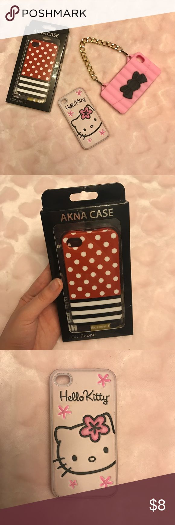 Three iPhone 4/4s Phone Cases Three phone cases, red and white polka dots with black and white stripes, pink rubber case with a bow and chain, and a hello kitty case. I am also including hello kitty home button stickers. Super cute! Hello Kitty Accessories Phone Cases