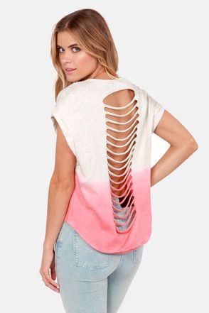 Check it out from Lulus.com! Don't act surprised, because the Shreddy or Not Red Dip-Dye Top is exactly what you've been waiting for! This heather-y cream sweater-knit top is boxy and cropped with wide cuffed sleeves, plus an awesome dip-dye hem in vibrant red, and shredded details down the back. Crew neckline. Unlined. Model is wearing a size small. Top measures 4.5