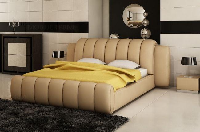 Lit Design En Cuir Italien De Luxe Splendide Beige Lit Design Chambre A Coucher Lit Chambre A Coucher Design