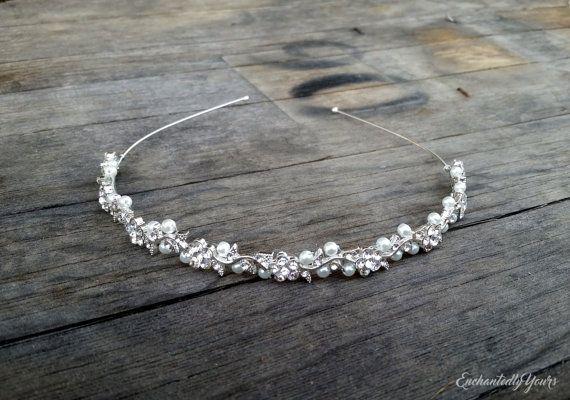 Flower girl crown Prom hair accessory Silver hair vine Bridal headband
