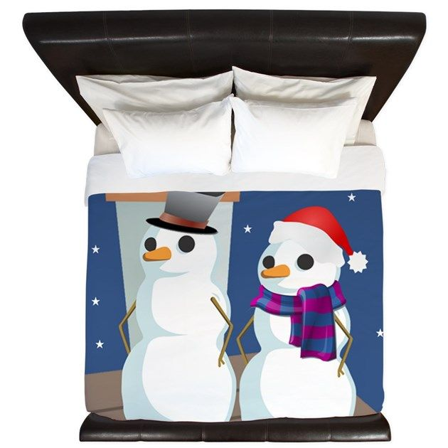 Christmas bedding for couples - Mrs. and Mrs. Snowman on a rooftop