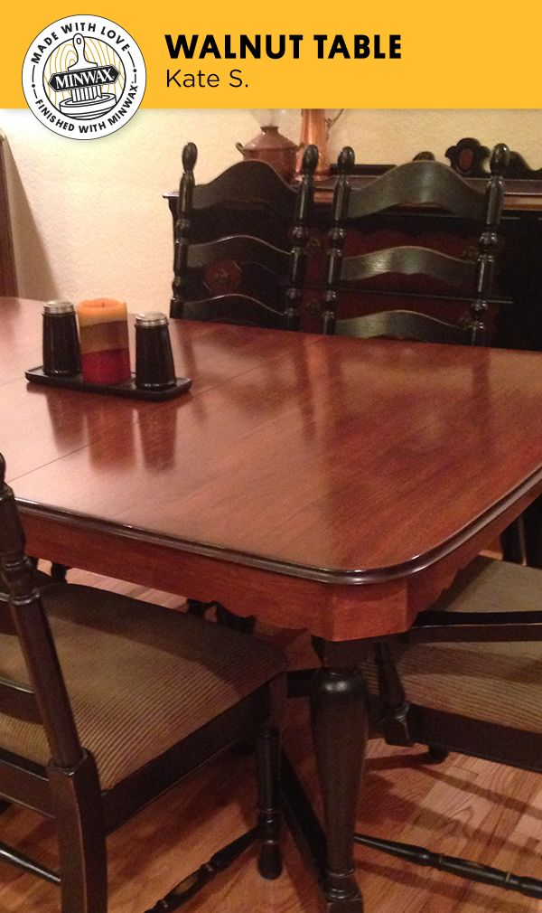 Kate S. saw the potential in this century-old walnut dining table when she found it at a yard sale covered in paint and scratches. She sanded it down and used a dark mahogany Minwax® stain to give it a whole new look. Now, it is one of her most-prized possessions!