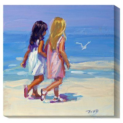 """Global Gallery 'Beach Stroll' by Lucelle Raad Painting Print on Canvas Size: 36"""" H x 36"""" W x 1.5"""" D"""