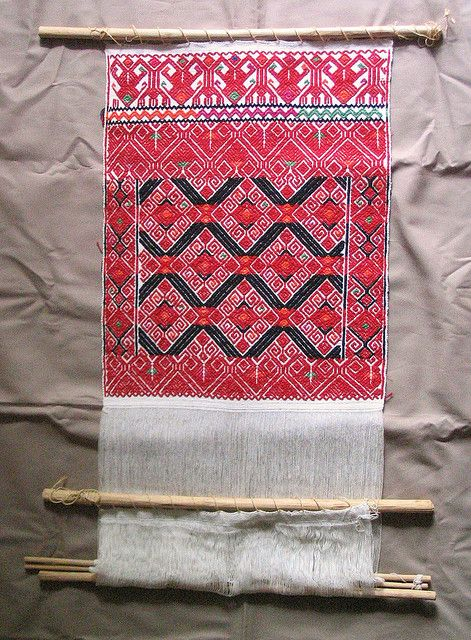 Larrainzar Loom  a small backstrap loom with a partially completed weaving. Made for commercial sale as a souvenir. From the Tzotzil Maya community of San Andres Larrainzar (Sakamchen) in the highlands of Chiapas Mexico