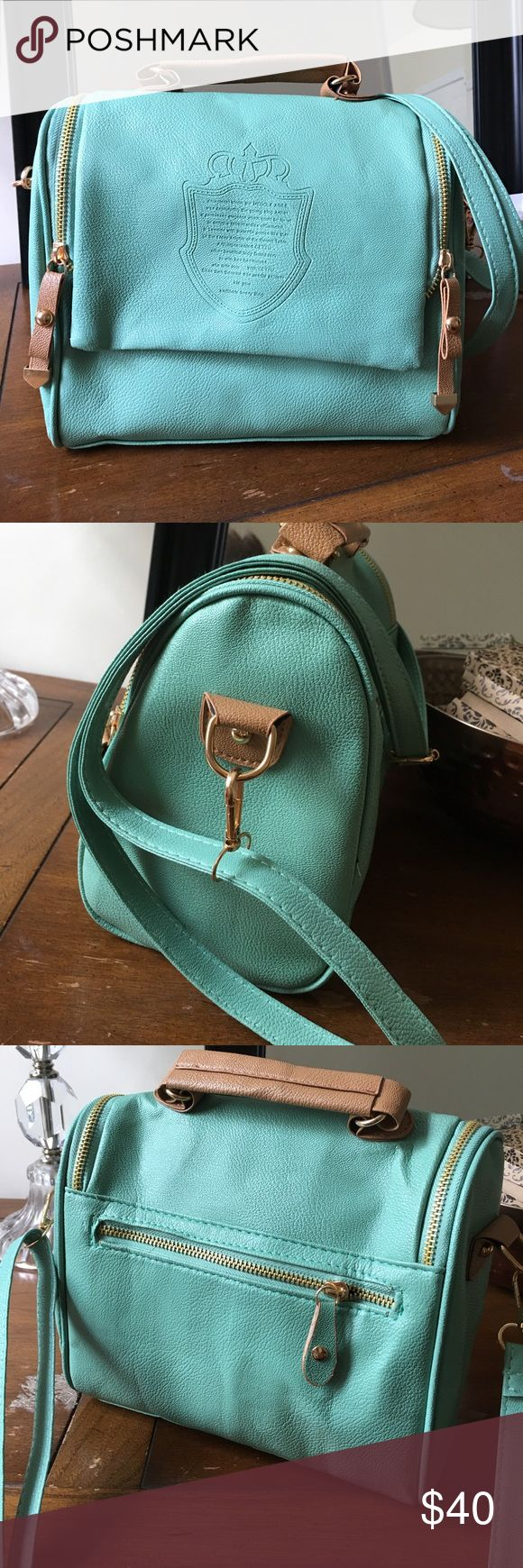 Brand new faux leather mint bag Gorgeous faux leather mint bag with crest design on front and gold tone detailing throughout. Can be used as a handbag, shoulder bag or crossbody (removable and adjustable strap). Bags Shoulder Bags