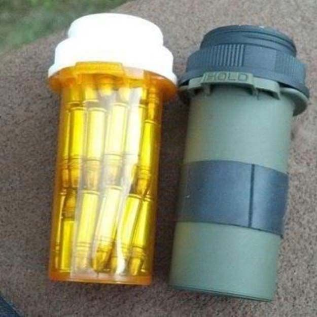 Ammo Storage | Clever DIY Survival Kit On A Budget by Survival Life at http://survivallife.com/survival-uses-for-a-pill-bottle/