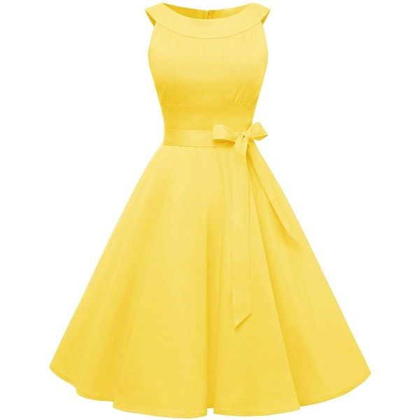 Find Dress Women 1950s Scoop Vintage Rockabilly Retro Cocktail Prom... ($50) ❤ liked on Polyvore featuring dresses, prom dresses, retro cocktail dresses, yellow vintage dress, special occasion dresses and cocktail prom dress