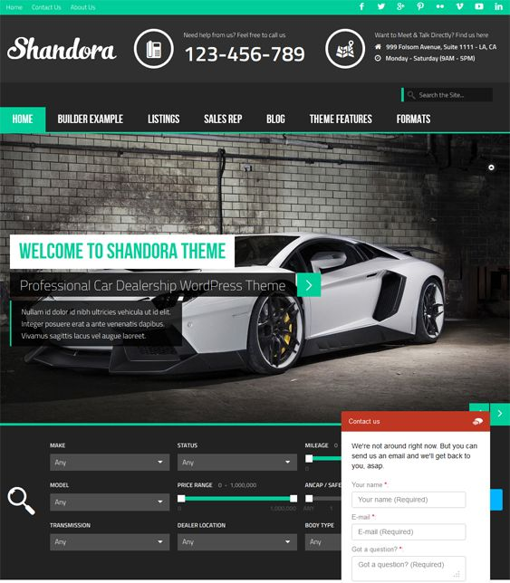 This WordPress theme for car dealerships comes with a responsive design, a live chat plugin, a polling system, a quiz engine, support for video, image, and gallery post formats, retina ready graphics, a theme customizer, and more.