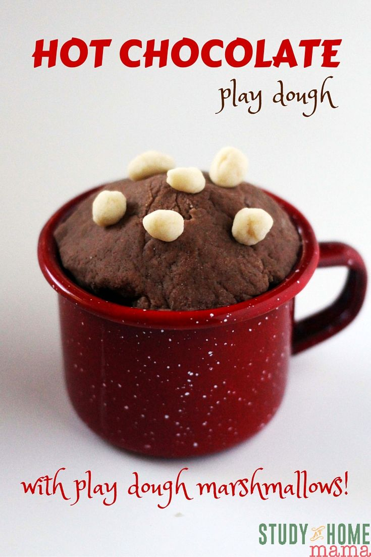 HOT CHOCOLATE play dough - the perfect winter sensory play. This post shares two different ways to make hot chocolate play dough and a edible recipe for marshmallow play dough if you have toddlers joining you.