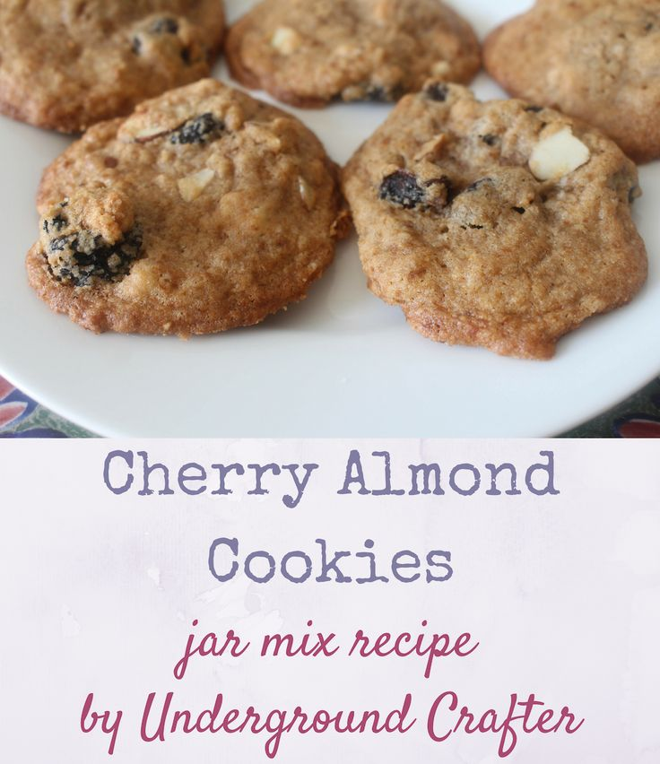 Cherry Almond Cookies recipe with jar mix gift version (including printable recipe cards) by Underground Crafter   (Inter)National Cookie Month Crafty Blog Hop #craftycookies2016