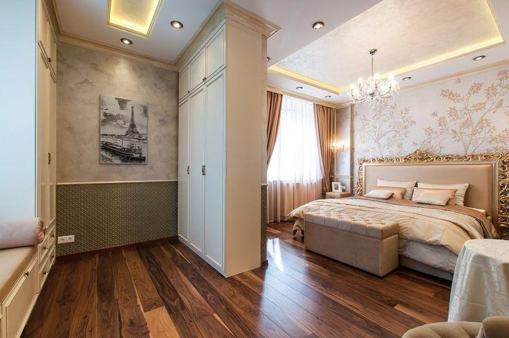 Klasszikus hálószoba kényelmes gardrób zónával - arany, ezüst, gyöngyház árnyalatokkal