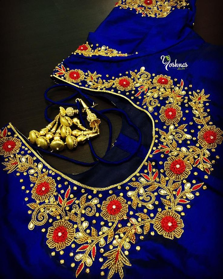 Beautiful blue color designer blouse with hand embroidery gold thread work. Please reach on 7550227897 / 044 42037313 for any customization. 24 July 2017
