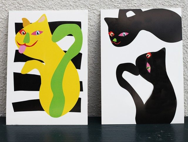 Cat Happy, postcard by Camilla Eltell Form #nordicdesigncollection #camillaeltellform #cat #happy #postcard #yellow #green #black #tale #animal #curious
