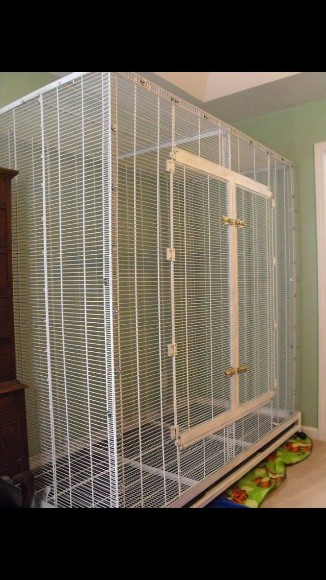 Pet Bird Cage Ideas...  cage made out of closet racks from lowes