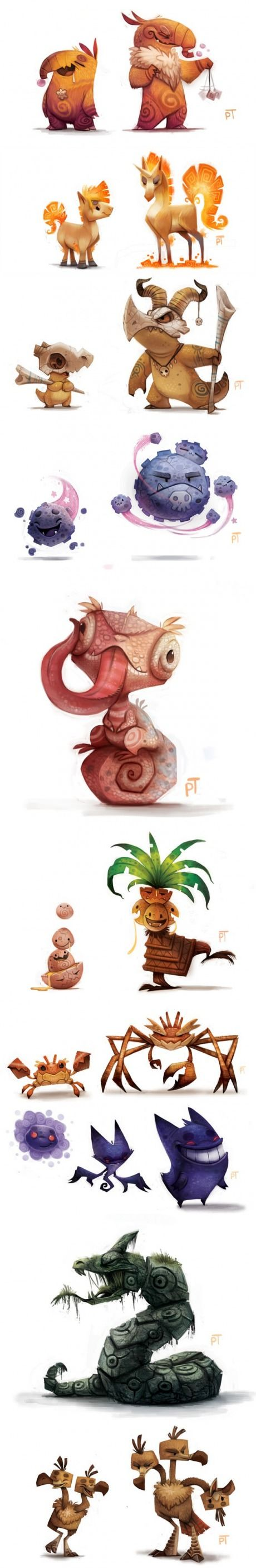 Pokémon according to Piper Thibodeau. Tribal designs with clever use of line to create a rough style.