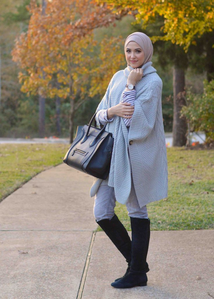 Gray Poncho Sweater