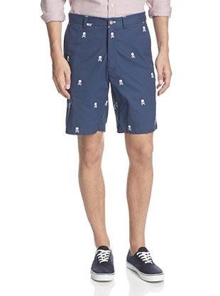 52% OFF J. McLaughlin Men's Devon Cotton Twill Embroidered Shorts (Navy/White)
