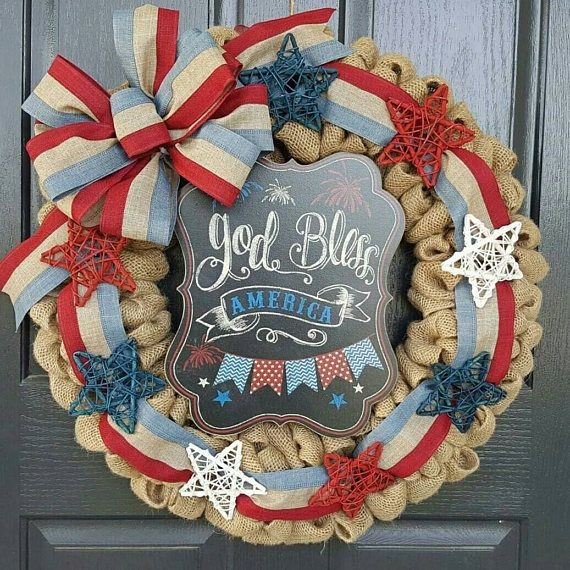 Check out this item in my Etsy shop https://www.etsy.com/listing/510195984/american-flag-wreath-4th-of-july-wreath