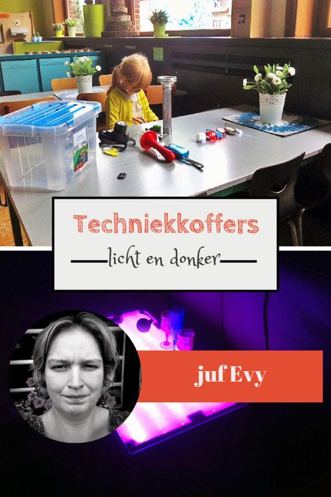Juf Evy vertelt hoe ze deze keer techniek met kleuters doet. De techniekkoffer is deze keer gevuld met allerlei materialen in het thema licht en donker.