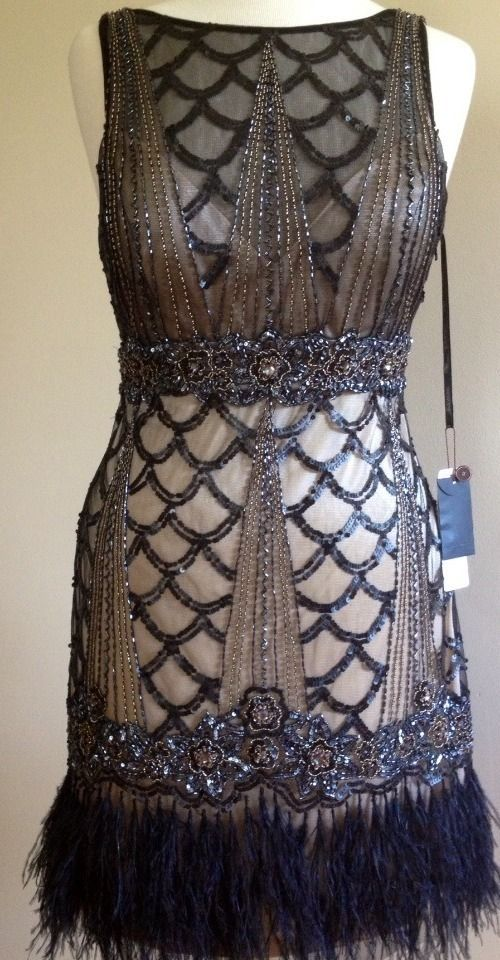 Sue Wong Art Deco Gatsby Black Nude Beaded Sequin Feather Flapper Dress