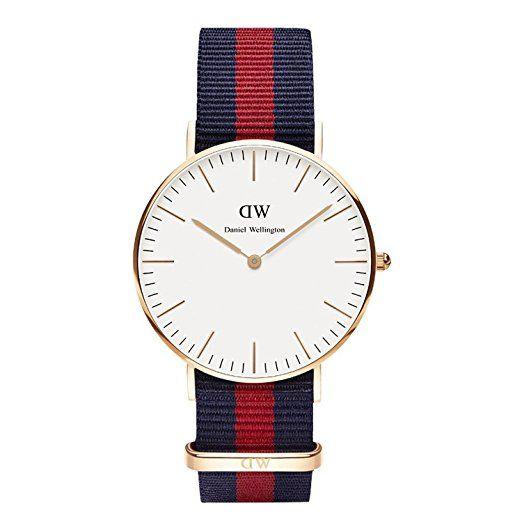 Daniel Wellington Damen-Armbanduhr Analog Quarz One Size, weiß, blau/rot