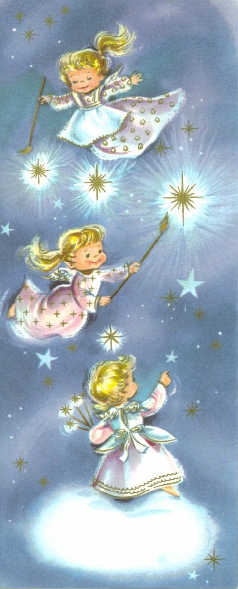 Vintage 1967 Christmas Greeting Card,  Three Angels Painting Stars Gold