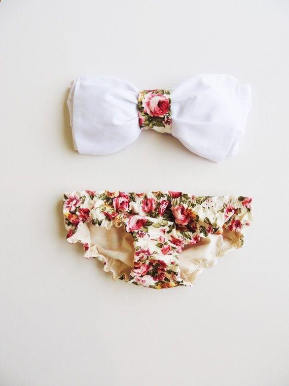Vintage Bow Bandeau Sunsuit All Cotton Bikini Style. Reversible panties Adjustable DiVa Halter Neck Top.Rose Floral Sunbathing Sexy cute.