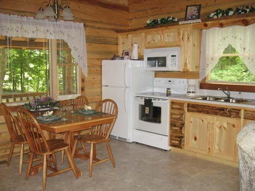 log cabin kitchen | Cozy Pine Log Cabin Rental | Tranquil Acres Log Cabins