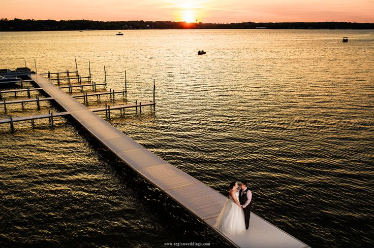 Outdoor Wedding At Lighthouse Restaurant In Cedar Lake, Indiana