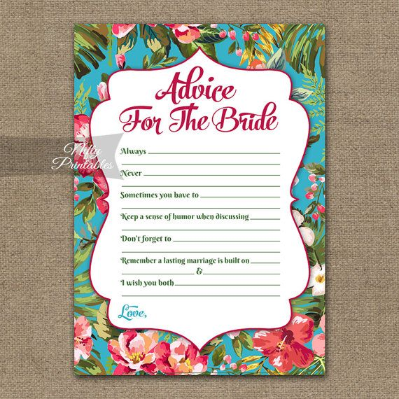 Bridal Shower Advice Cards - Tropical Bridal Shower Games - Instant Download Luau Bridal - Printable Hawaiian Floral Bridal Advice Card TRP