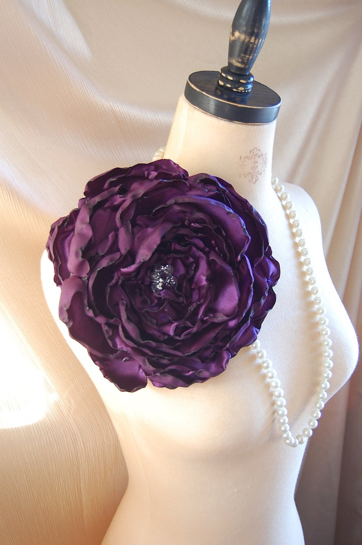 Purple Wedding Couture Fabric Flower Brooch. $25.00, via Etsy.