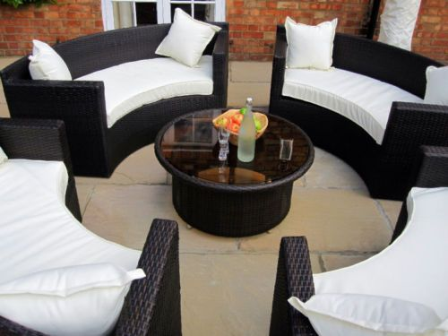 New Luxury Circular All Weather Round Sofa & Table Rattan Garden Furniture Set L