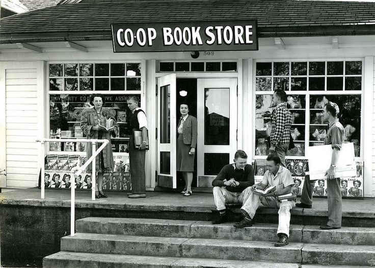 Original campus bookstore at University of Idaho, 1939.