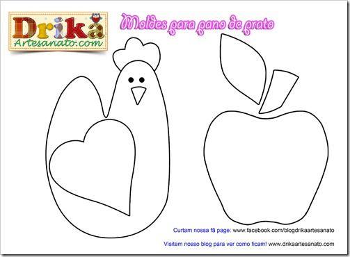 Moldes para patchwork: Galinha e maçã para pano de prato