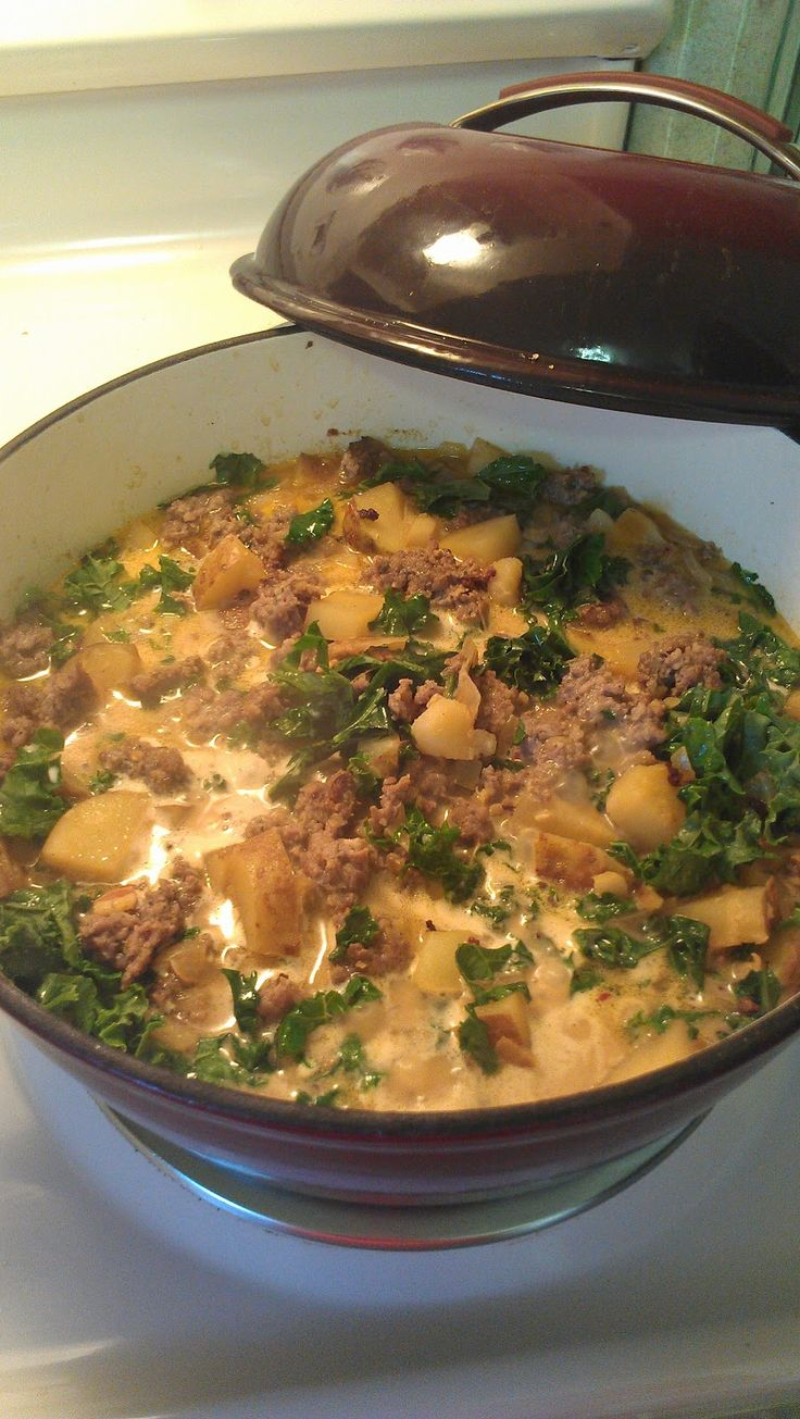 For the Love of Food: Engagement Dinner & Olive Garden's Zuppa Toscana Soup - sub coconut milk for the cream and increase the kale!