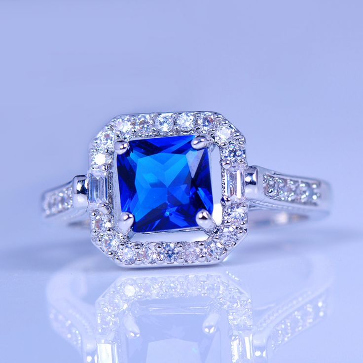 80% OFF ! Crystal Geometric Blue Ring 925 Silver Vintage Wedding Engagement Rings For Women Fashion Jewelry