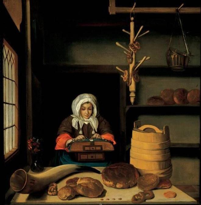 Bakkerswinkel met kantkloster Job Adriaensz Berckheyde, 1665/75.